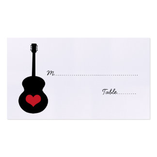 Red/Black Guitar Heart Place Card Business Card Template