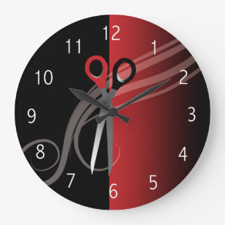 Red & black hair salon clock