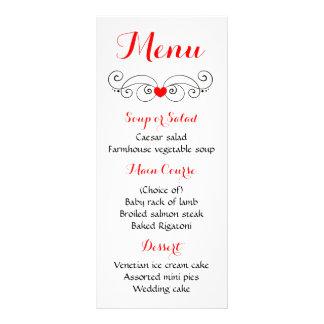 Red & Black Heart Menu Love - Wedding Party