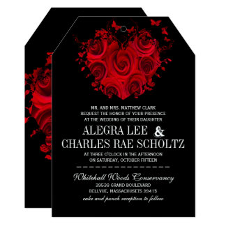 """Red & Black Heart Roses Butterfly Weddings 5"""" X 7"""" Invitation Card"""