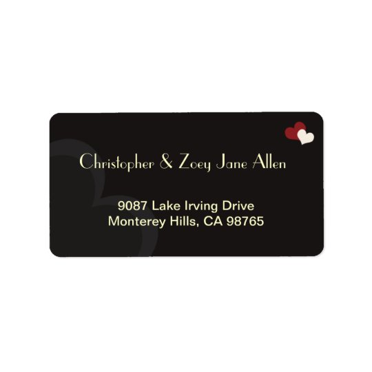 Red & Black Hearts Address Label