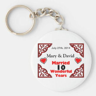 Red Black Hearts Names Date 10 Yr Anniversary Keychains