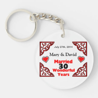 Red Black Hearts Names Date 30 Yr Anniversary Keychains