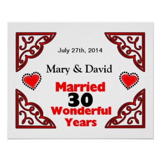 Red Black Hearts Names Date 30 Yr Anniversary Print