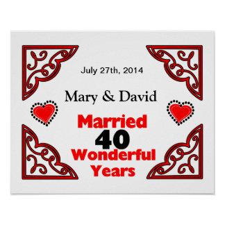 Red Black Hearts Names Date 40 Yr Anniversary Print