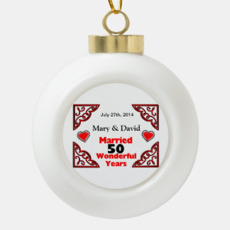 Red Black Hearts Names & Date 50 Yr Anniversary Ceramic Ball Ornament