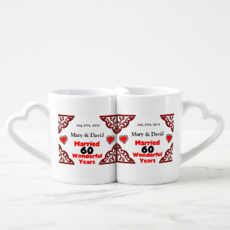 Red Black Hearts Names & Date 60 Yr Anniversary Coffee Mug Set