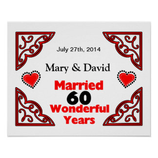 Red Black Hearts Names & Date 60 Yr Anniversary Poster