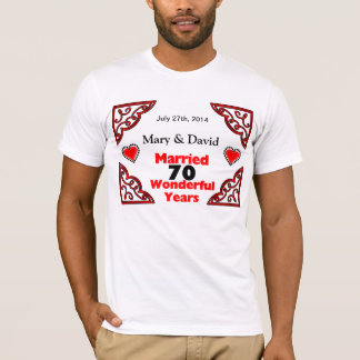 Red Black Hearts Names & Date 70 Yr Anniversary T-Shirt
