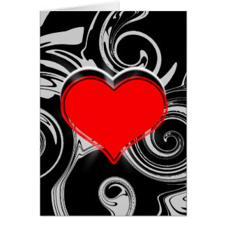 Red Black Hearts Swirls Pattern Valentines Card