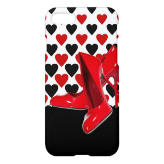Red & Black Hearts With Red High Heels iPhone 8/7 Case