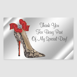 Red Black high Heel Shoe Party Favor Stickers