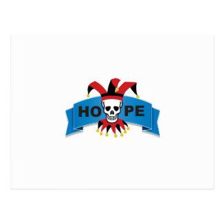 red black joker of death postcard