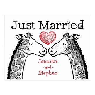 Red & Black Just Married Giraffe Love Wedding Postcard