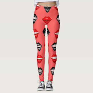 Red black kiss lips leggings