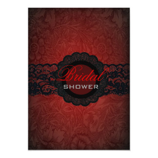 Red Black Lace Gothic Bridal Shower Invitation