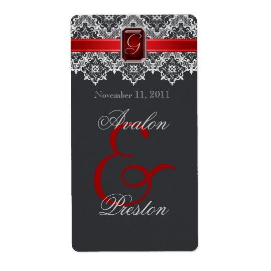 Red & Black Lace Jewelled Wedding Wine Label
