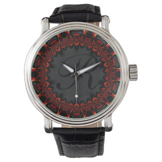 Red Black Lace Personalized Monogram Wristwatch