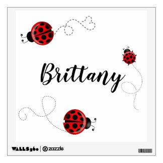 Red Black Ladybug Bug Insect Ladybird Beetles Name Wall Decal