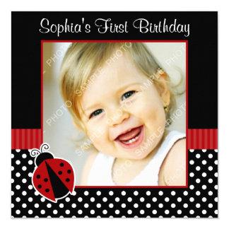"Red Black Ladybug Polka Dot 1st Birthday Photo 5.25"" Square Invitation Card"