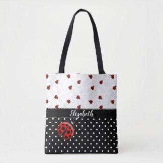 Red Black Ladybug Polka Dot Bug Beetles Name Tote Bag
