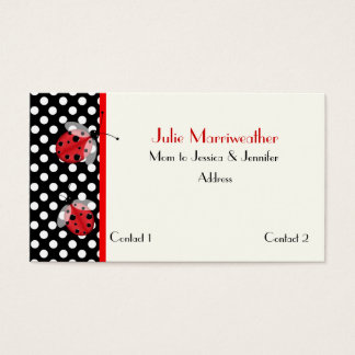 Red & Black Ladybugs Mommy Calling Card