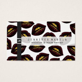 Red Black Lips and Faux Sparkly Gold Grill Teeth Business Card