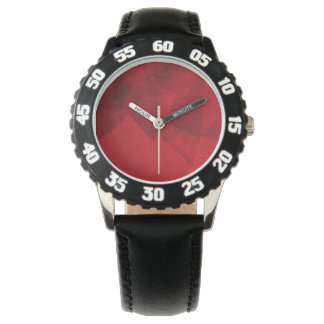 Red black love abstract modern painting design art wrist watch