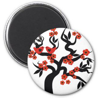 Red black Love birds sakura cherry tree & Blossoms 2 Inch Round Magnet