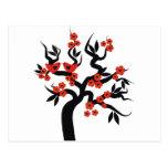 Red black Love birds sakura cherry tree & Blossoms Postcard