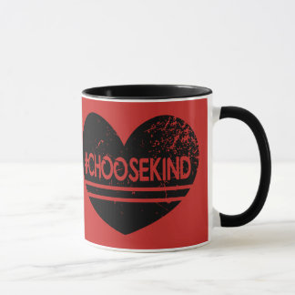 Red Black Love Choose Kind - Vintage Style Mug