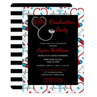 Red | Black Medical Nurse Graduation Party Card