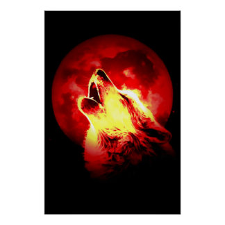 Red Black Motivational Wolf Howls Fullmoon Print