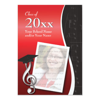 Red & Black Music Graduation Invitation