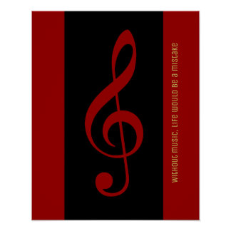 red black musical note (treble clef) poster