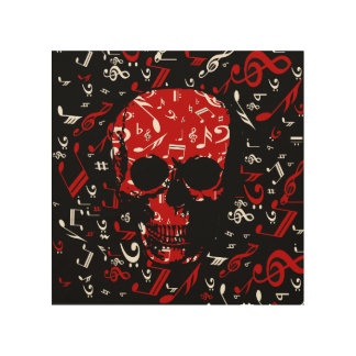 Red Black Musical notes skull Wood Print