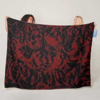 Red Black Ornamental Pattern Fleece Blanket