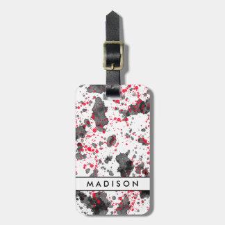 Red & Black Paint Splatters Luggage Tag