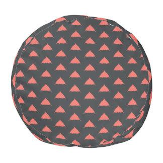 Red & black pattern Round Pouf