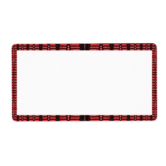 red black pattern shipping label