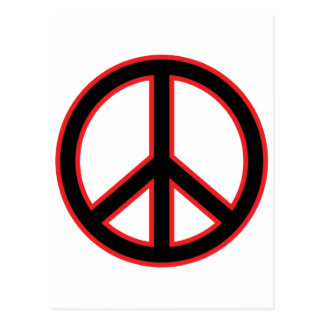 Red & Black Peace Symbol Postcard