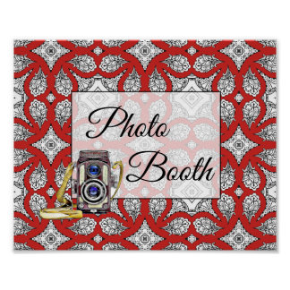 Red, Black  Photo Booth Wedding Sign Poster