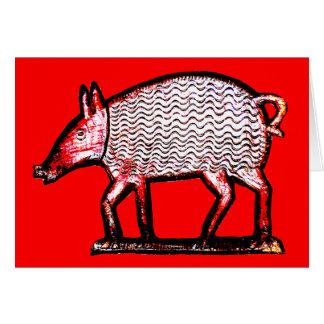 Red & Black Pig - Primitive / Folk Art Design Card