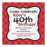 Red Black Plaid 40th Birthday Party Invitations