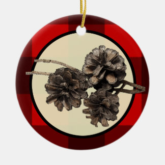 Red & Black Plaid Flannel & Pinecones Christmas Ceramic Ornament