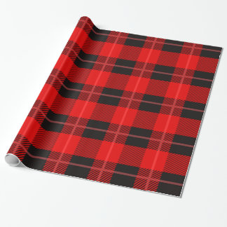 Red & Black Plaid Pattern Wrapping Paper