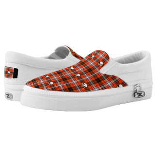 Red Black Plaid Scull Cross Bones Slip On Sneakers