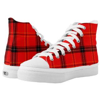 Red & Black Plaid Tartan Zipz High Top Shoes