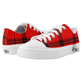 Red & Black Plaid Tartan Zipz Low Top Shoes