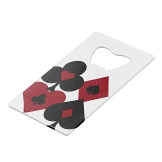 Red & Black Poker Card Deck Suits Credit Card Bottle Opener